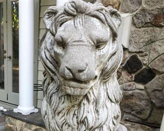 2' tall concrete lion guardian statue (Leo)