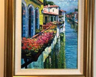 "Howard Behrens ""Bassano Del Grappa, Series Variation #2"" oil on canvas w/COA"