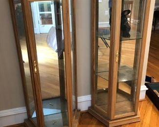 Wooden, glass display cases