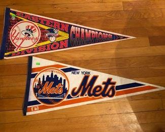 Yankees & Mets pennants.