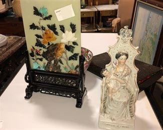 Antique Chinese jade and precious stone desk screen  and English 1840 Staffordshire model of a queen on throne