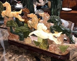 """30"""" figure of many horses running....all made from jade and marble... a mustsee"""