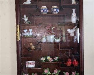 Rosewood wall mounted curio cabinet