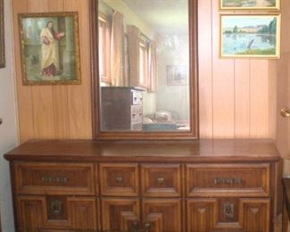 Mid Century Modern dresser with wall mount mirror, could also be used as a buffet or TV stand. Antique picture of Jesus knocking at the door, and some original oil paintings.