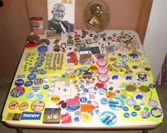 Political buttons, Ike, Nixon, Ford, Reagan, Bush, Romney, local political buttons. Lions Club pins. Book on Ike and Lincoln plaque.