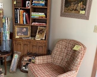 """Plaid chair, tall bookcase, """"grace"""" picture, horse plaque, Detroit tigers books and ornament, victorian still life picture."""