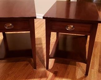 2 Mahogany end tables with brass handled