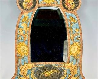 Art Nouveau Cloisonne Mirror w/ Spider C. 1900