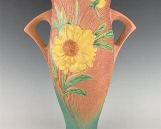 "Roseville Peony Floor Vase in Pink Shape 70-18"""