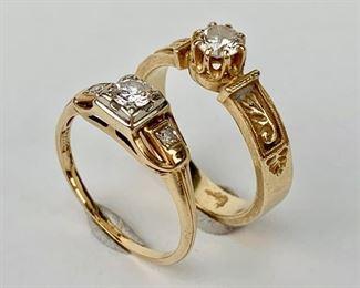 Two Ladies 14k Yellow Gold 20pts Diamond Rings