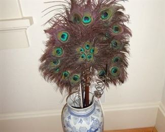 PEACOCK FEATHERS IN VASE