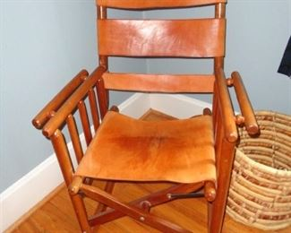 LEATHER AND WOOD ROCKING CHAIR