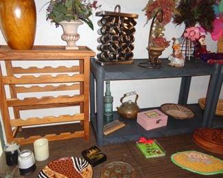 wine rack, spice rack  and knacks