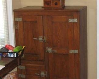 Three door antique ice box