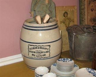 Antique store advertising pickle jar