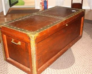 Very Old, hand made trunk with brass trim and fittings