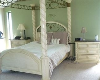 PRICED TO SELL! 5 Piece  Bedroom Set. Queen Size Poster Canopy Bed Frame, (does not include mattress) Large  Armoire, 2 night Stands with granite Tops, Dresser with Mirror. Set is very Heavy, It has  usage wear.