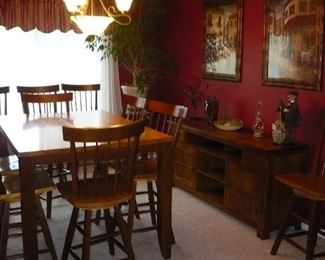 Hightop Dining Set with 10 Swivel Chairs, Table has Leaf underneath to Enlarge to fit all 10 Chairs
