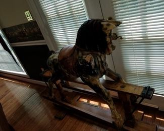 antique horse, purchased at auction, real horse hair mane and real leather saddle and bridle