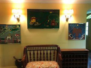 Floretta Warfeld folk art paintings and Sheraton Bench and post office cubbie