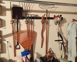 Assorted tools and garage items