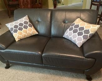 Charcoal grey leather sofa - few months old