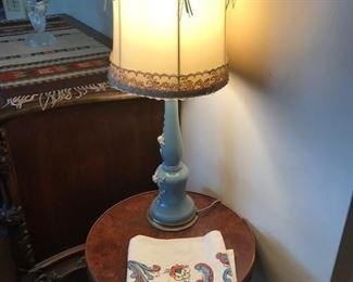 vintage lamps, vintage linens