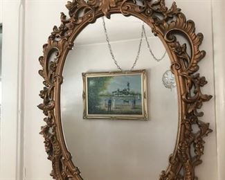 •	Vintage Gold Guilted Mirrors