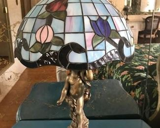 Stained glass lamp with Tiffany Style with Gilted Angel