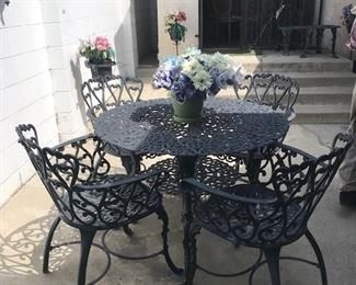 1940s and 1950s Hollywood Regency / Rococo Metal Patio Furniture