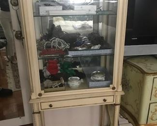 •Marie Antoinette / Louis XIV Style Antique glass display cabinet