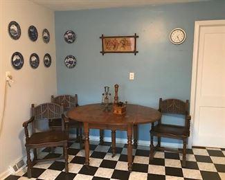 Antique Oak drop leaf table-Antique Oak chairs