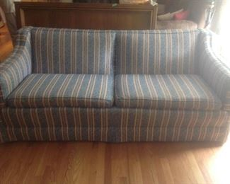 """Striped sofa..measures 77"""" long x 35 deep and 33"""" tall.  Presale at $95"""