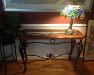 """Wood and glass top with iron base sofa table.  Measures 42"""" long x 16"""" deep x 28"""" tall"""