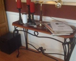 """Beautiful sofa table ..wood and glass top with iron stand.  Measures  42"""" long x 16"""" deep x 28"""" tall"""