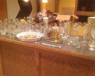 Variety of Becks glasses, mugs and trays