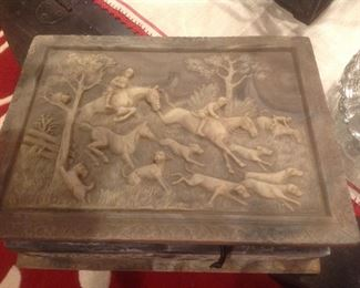 Incolay stone jewelry chest....this one is Horses and Hounds