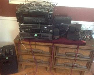 Pieces of electronics for sound system.  Sony speakers