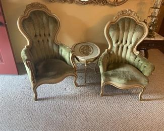 Victorian king and queen chairs have matching sofa.  Gold and cream French table vintage, gorgeous!  Marble top end tables