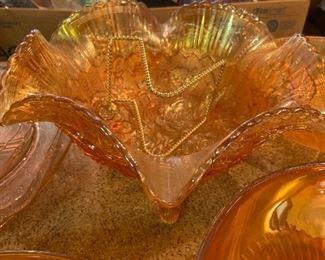 Lots of Carnival / Depression Era glassware!                         A collector's dream!