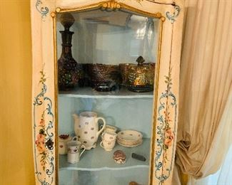 French Provincial curio. Carnival glass sets. Tea service.