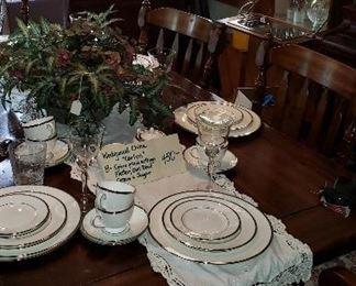 Pine table/chairs, Wedgewood china, stemware