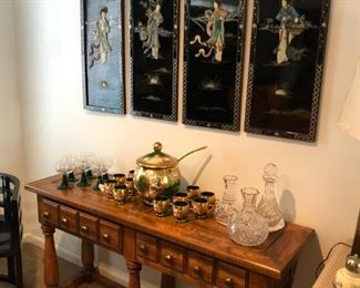 Vintage Chinoiserie coromandel wall screen with sideboard/sofa table