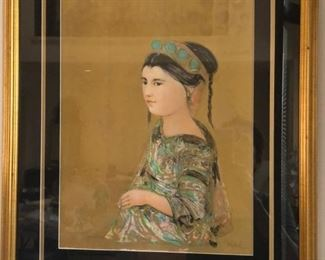 """Edna Hibel signed/numbered lithograph """"Hill Tribe Maiden"""""""