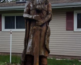 Large Viking poplar carving by Richard Kron.