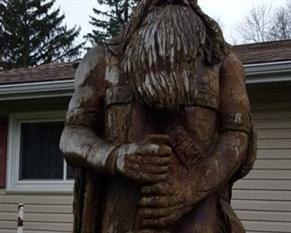 Large Viking poplar carving by Richard Kron. It is not in best shape as recommended if kept outdoors it be sheltered from hot sun and varnished annually with something like spar varnish.