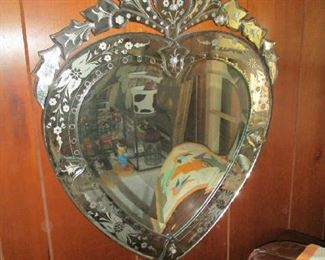 Etched mirror, heart-shaped