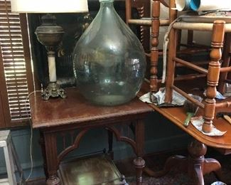 jumbo vintage demijohn bottle, antique ball & claw side table, dining room set
