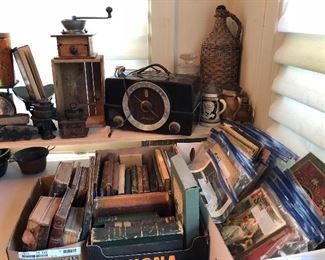 zenith bakelite radio, paper ephemera, cast iron scale w/ weights, primitives, more books