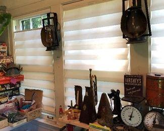Dietz Railroad lanterns, vintage bugle, metronomes, tins
